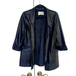 stradivarius blazer faux leather notches lapel